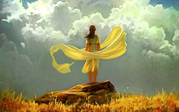 women paintings clouds autumn season ribbons sunlight yellow