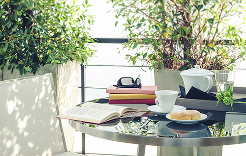 Leisure lifestyle at home with coffee and tea book and